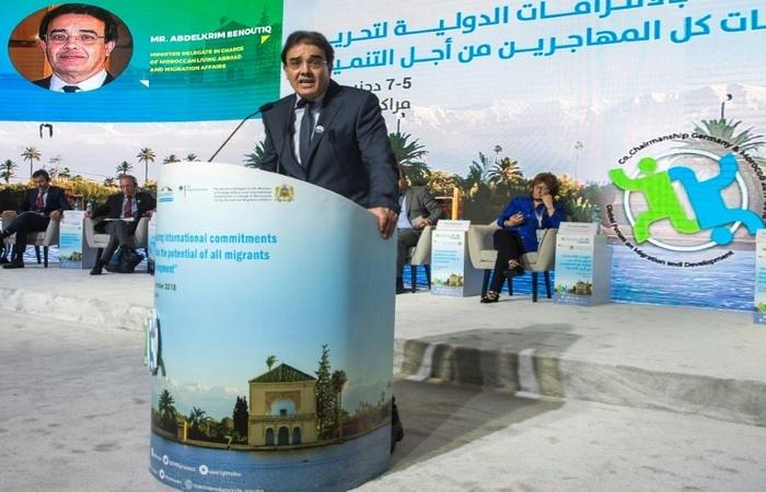 O Ministro Marroquino dos Assuntos Migratórios Abdelkrim Benatiq discursa no Fórum Global sobre Migração e Desenvolvimento em 5 de dezembro de 2018. Foto: Arquivo/AFP