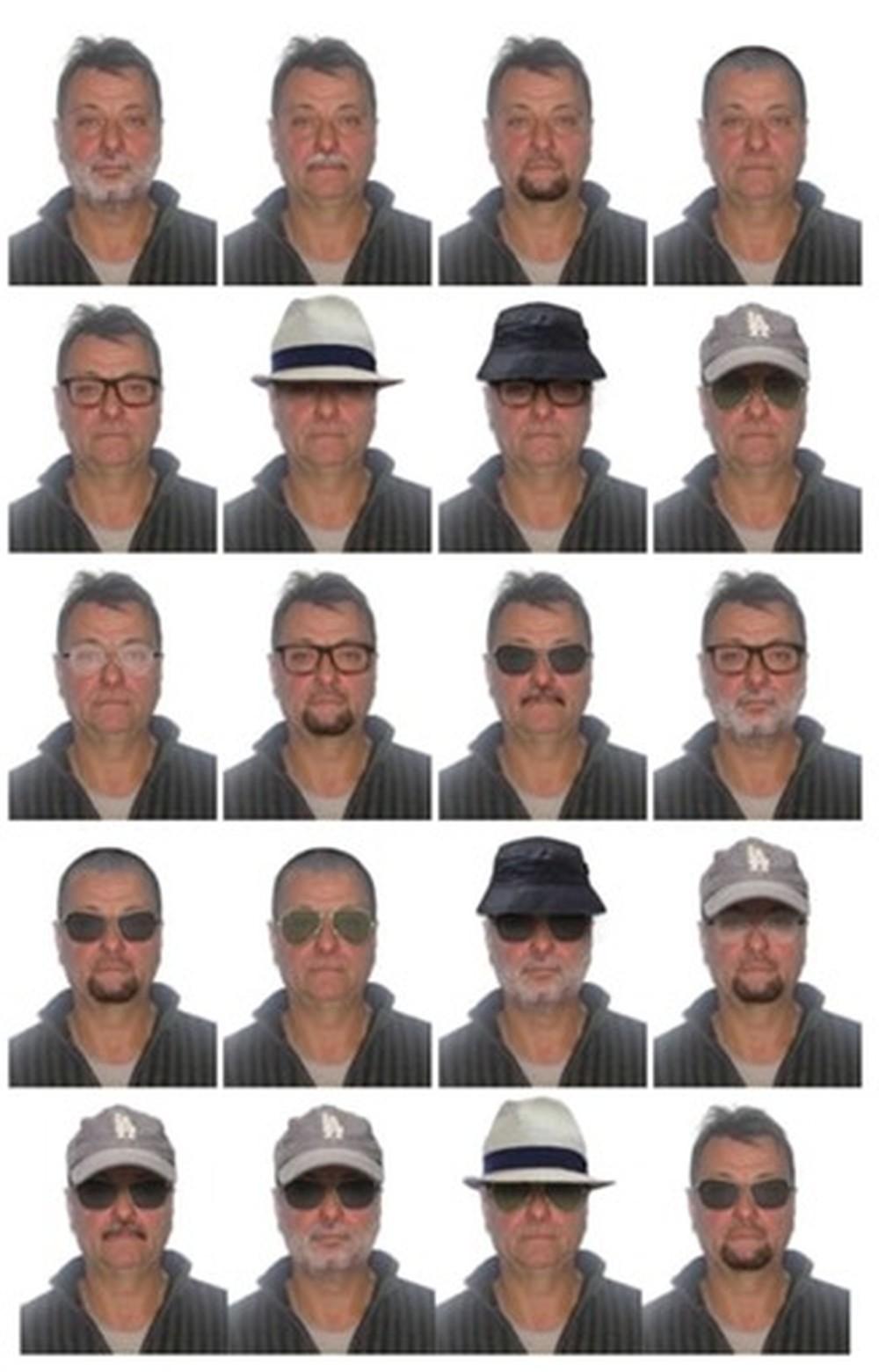 20 simulações de imagens sobre disfarces, mostrando como poderá estar a aparência de Cesare Battisti. Foto: Divulgação/Polícia Federal