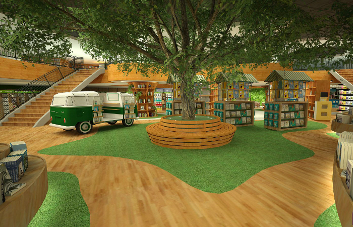 O espaço interno vai simular um jardim, com carpetes verdes, uma jaqueira gigante artificial e uma Kombi equipada com livros. Foto: Ponto 5 Arquitetura/Divulgação