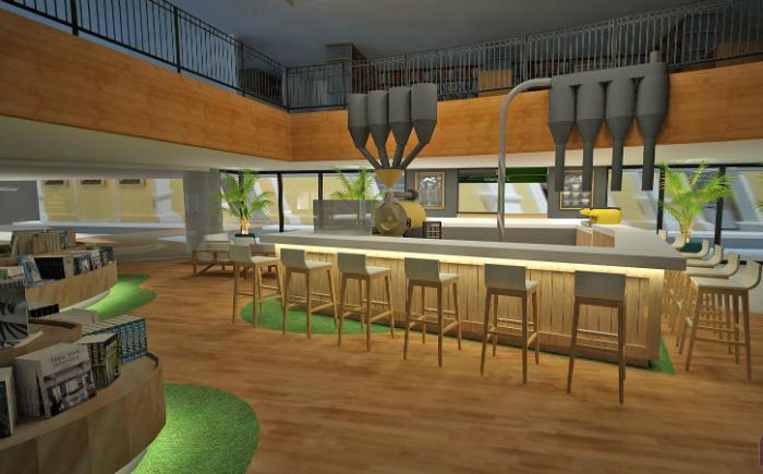 A cafeteria, que já existia na antiga Cultura, terá seu potencial expandido com espaço maior, nova torradeira e opção de compras para viagem. Foto: Ponto 5 Arquitetura/Divulgação