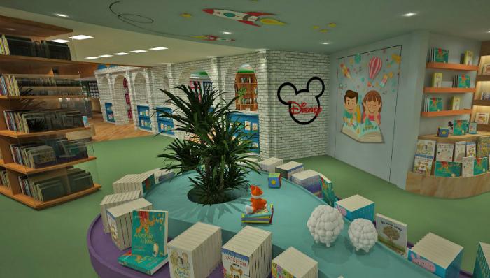 O espaço Disney, uma das principais apostas, vai comportar produtos oficiais da empresa norte-americana. Foto: Ponto 5 Arquitetura/Divulgação
