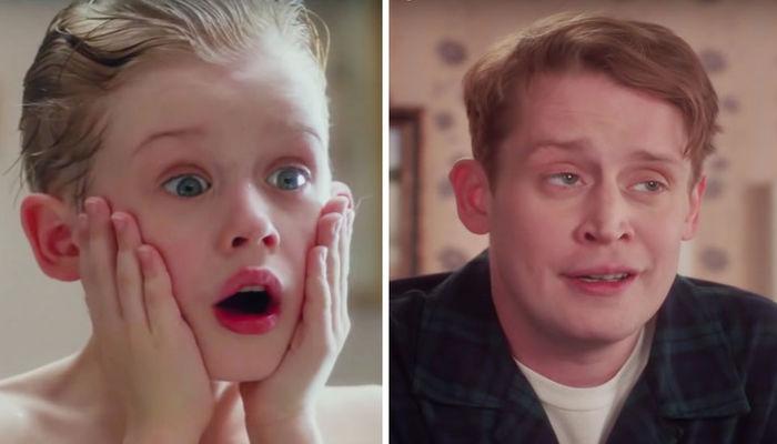 Macaulay Culkin em Esqueceram de Mim, quandro criança, e atualmente, em propaganda do Google. Foto: Reprodução/Fox Film/Youtube