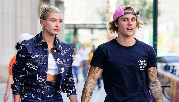"""""""Espere um minuto, esta é minha garota"""", escreveu Bieber ao compartilhar a imagem. Foto: Reprodução/AFP/Getty"""