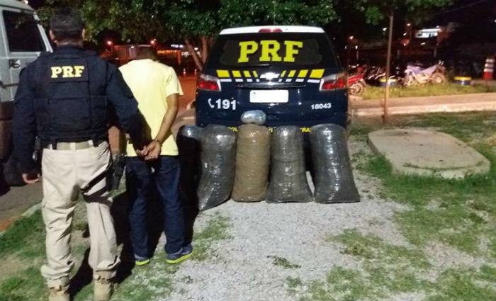O flagrante ocorreu durante uma fiscalização no quilômetro 82 da rodovia. Foto: Divulgação/PRF (Foto: Divulgação/PRF)