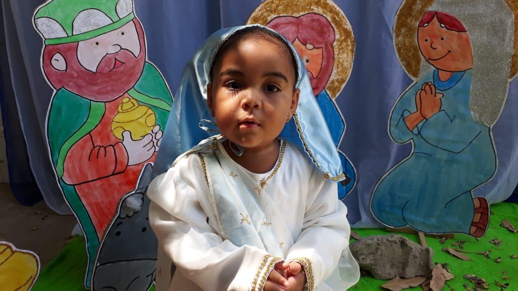 Criança interpretando Maria, mãe de Jesus. Foto: Divulgação