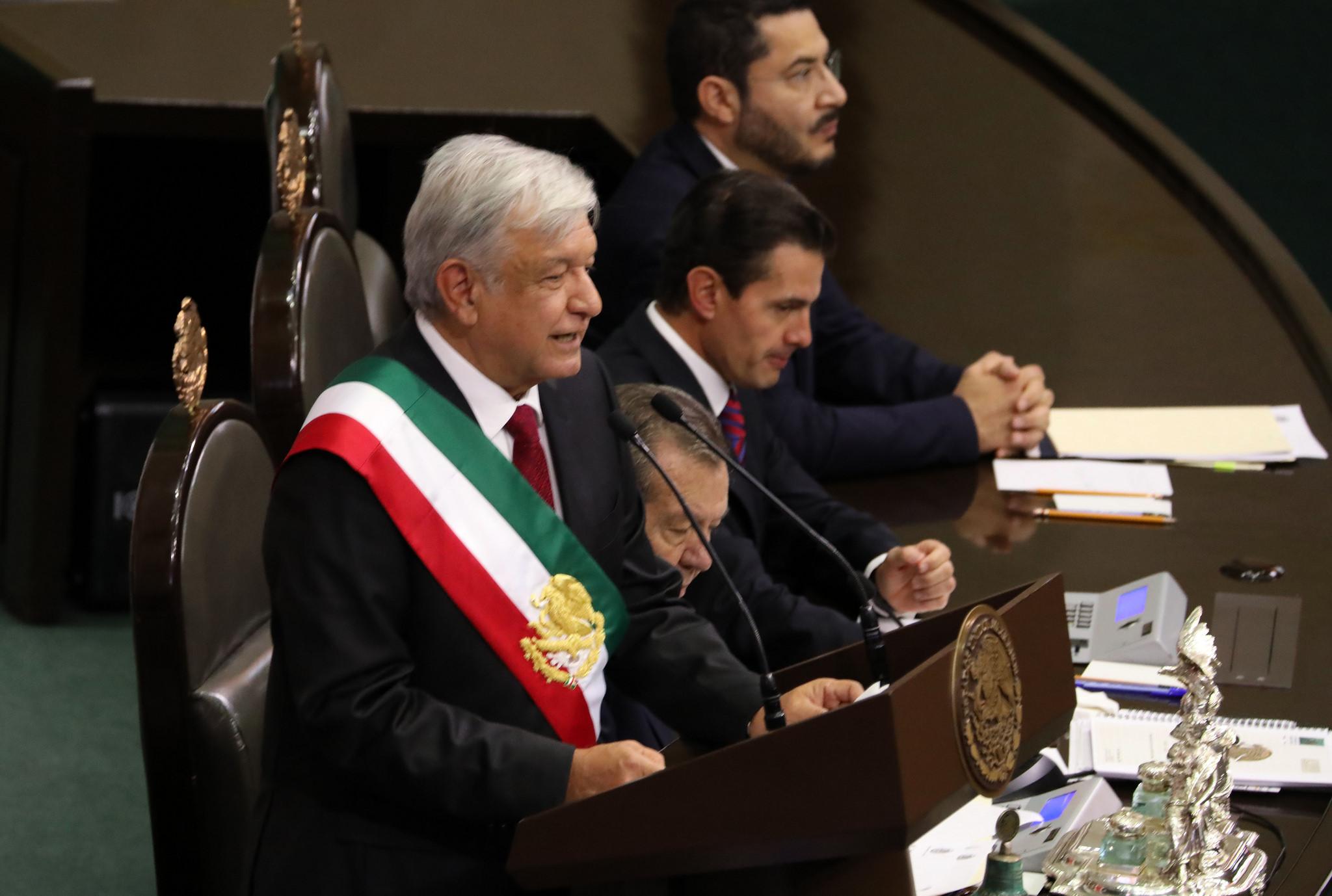 Presidente do México no palácio legislativo. Foto: Jonathan Miranda/Presidencia de la República