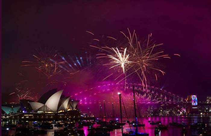 Queima de fogos na Austrália. Foto: Twitter City of Sidney/Divulgação