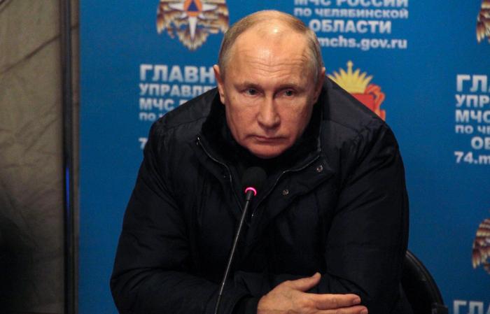 """""""Só podemos alcançar resultados positivos por meio de nossos próprios esforços e de um trabalho em equipe bem coordenado"""", afirmou o presidente russo. Foto: Ilya MOSKOVETS / AFP"""
