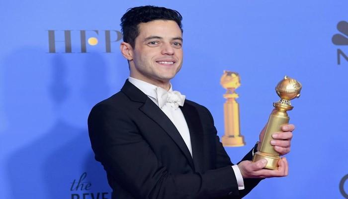 O ator Rami Malek, que interpretou Fred Mercury no cinema e levou o prêmio de melhor ator em filme de drama. Foto: KEVIN WINTER/AFP