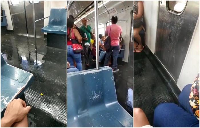 No vídeo, o piso do vagão estava coberto de água e os passageiros não conseguiam sentar nos bancos do trem tamanha era a goteira. Foto: Reprodução/Vídeo (No vídeo, o piso do vagão estava coberto de água e os passageiros não conseguiam sentar nos bancos do trem tamanha era a goteira. Foto: Reprodução/Vídeo)