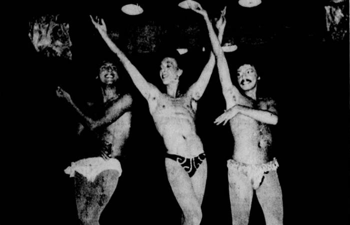 O Grupo de Teatro Espontâneo apresentando a peça Madame Estopim e a Dama do Amor na Misty da Rua do Riachuelo, em 1980. Foto: Acervo do Diario de Pernambuco