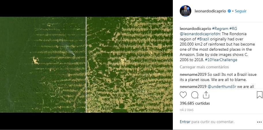 Postagem do ator no Instagram tinha 396,6 mil curtidas até a noite deste domingo (20). Foto: Reprodução