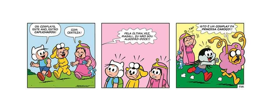 Neste crossover, a 'Turma da Mônica' interage com o pessoal da 'Turma da aventura'. Foto: Divulgação/Cartoon Network