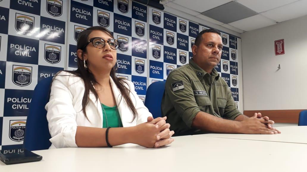 Delegada Bárbara Fort - Titular da Delegacia de Carpina e o Major Fábio Batista - 2° BPM. Foto: Polícia Civil /Divulgação