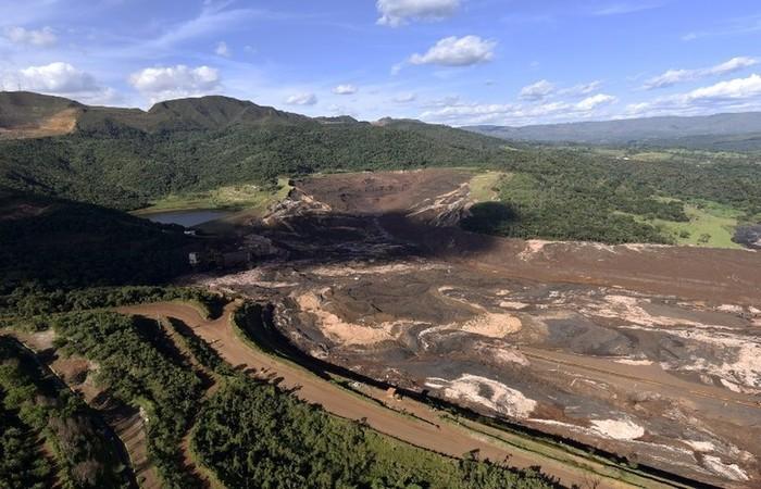 A mina do Feijão na região de Córrego do Feijão, em Brumadinho, dois dias depois do rompimento da barragem da Vale. Foto: Douglas Magno/AFP