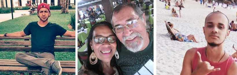 Mauro (esquerda) e Isabel morreram em deslizamento em Guaratiba; Áureo (centro) e Arthur (direita) saíram feridos. Foto: Redes sociais