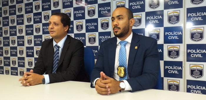 Delegados Paulo Gustavo Gondim e Elielton Xavier apresentaram o caso. Crédito: Polícia Civil