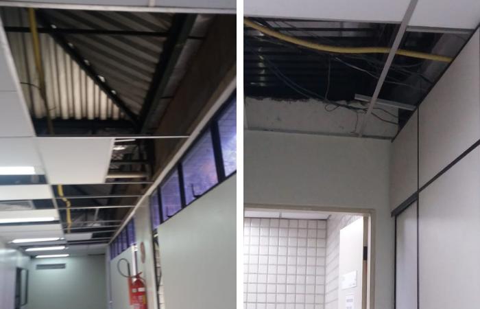 Sem ar-condicionado, os servidores trabalham sob um teto de zinco, que potencializa o calor de um ambiente fechado e sem refrigeração - Fotos: WhatsApp/Cortesia