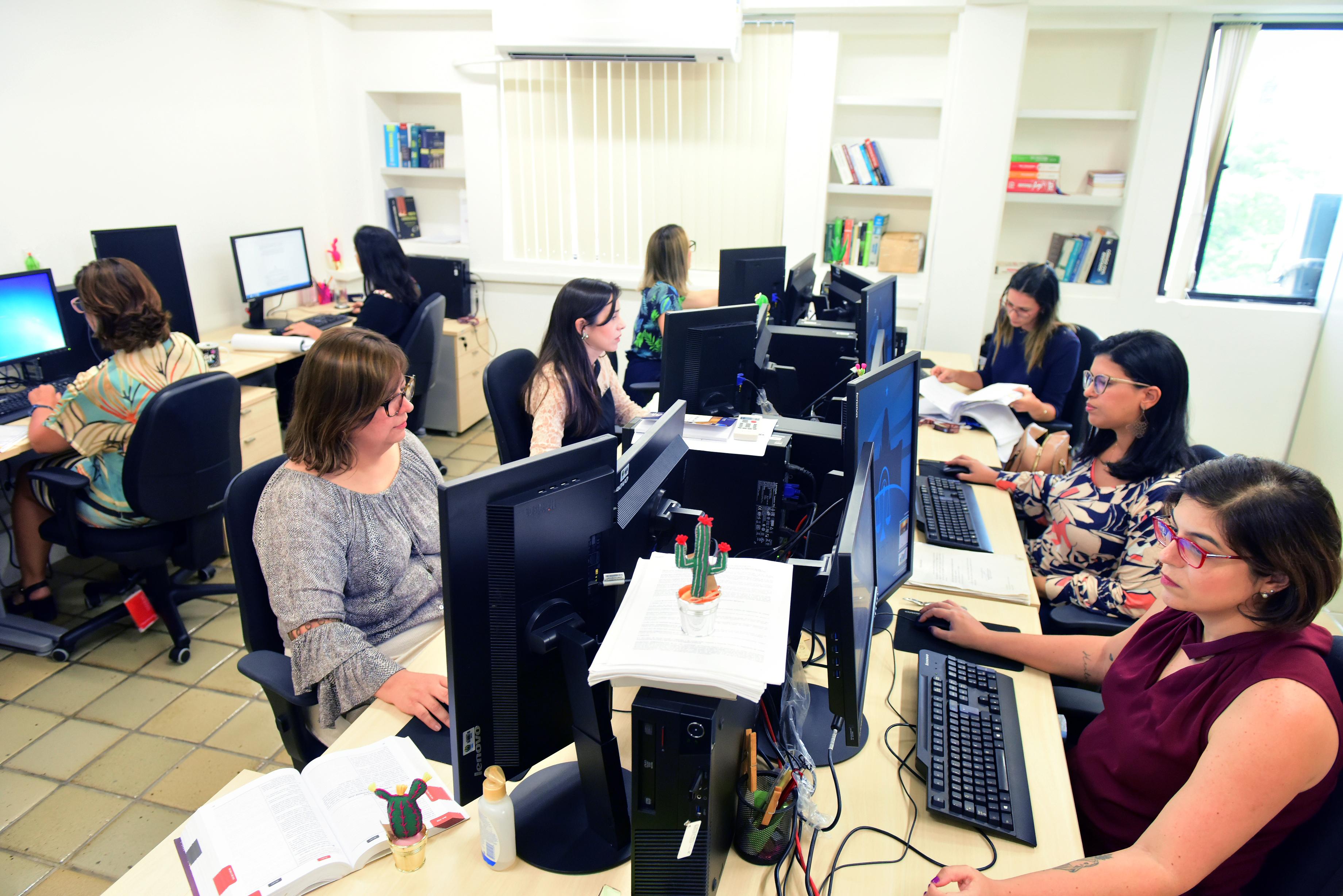 Equipe trabalha unida e divide as tarefas para agilizar o andamento dos processos - Crédito Assis Lima/ Divulgacão TJPE