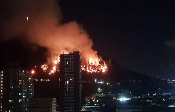 Incêndio no Cerro San Cristóbal. Foto: Reprodução/Twitter