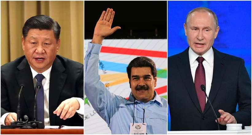 Quase 50 países reconheceram Juan Guaidó como presidente interino da Venezuela. Nicolás Maduro tem o apoio da Rússia e da China. Fotos: Arquivos / AFP