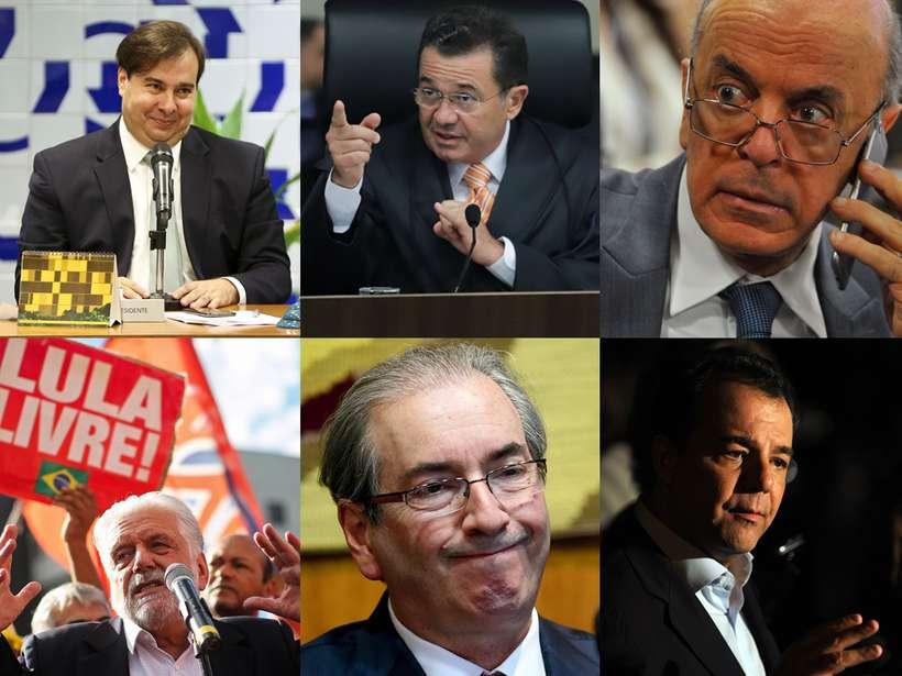 Entre os citados estão o presidente da Câmara, Rodrigo Maia (DEM-RJ), o ministro do Tribunal de Contas da União (TCU) Vital do Rêgo, os senadores José Serra (PSDB-SP) e Jaques Wagner (PT-BA), o deputado Aécio Neves (PSDB-MG), o deputado cassado Eduardo Cunha (MDB-RJ) e o ex-governador do Rio Sérgio Cabral (MDB). Fotos: Marcelo Camargo/Agência Brasil, Fabio Pinheiro/TCU, Minervino Junior/CB/D.A Press, Heuler Andrey e Evaristo Sá/AFP e Rodrigues Pozzebom/ Agencia Brasil