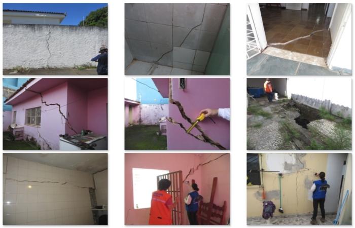 Na foto, os registros do Mapeamento das Rachaduras e do Afundamento realizado pelo Serviço Geológico do Brasil.  Foto: Reprodução/CPRM.  (Na foto, os registros do Mapeamento das Rachaduras e do Afundamento realizado pelo Serviço Geológico do Brasil.  Foto: Reprodução/CPRM.)