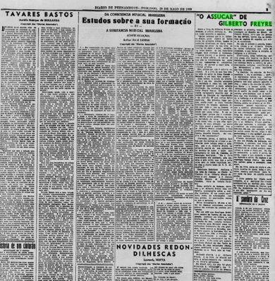 Diario de Pernambuco noticiou em 20 de março de 1939 o lançamento do livro. Foto: Arquivo DP.