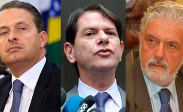 Eduardo Campos (PSB), Cid Gomes (PSB) e Jaques Wagner (PT) falam para empresários no Recife, nesta segunda
